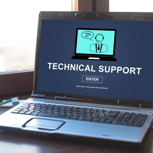Laptop screen displaying a technical support concept